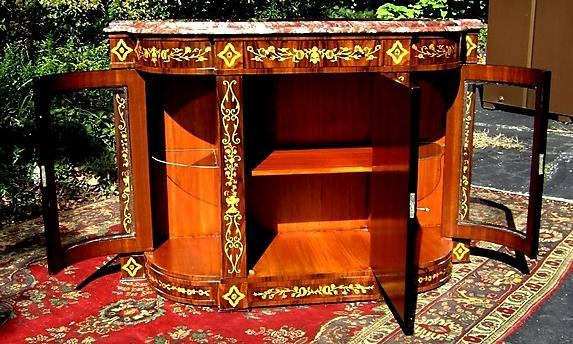 Rosewood Victorian style marquetry Credenza