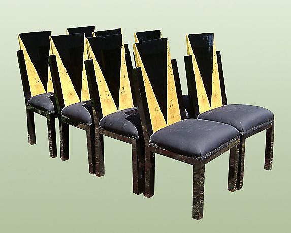 Set of 8 Art Deco style two toned Chairs