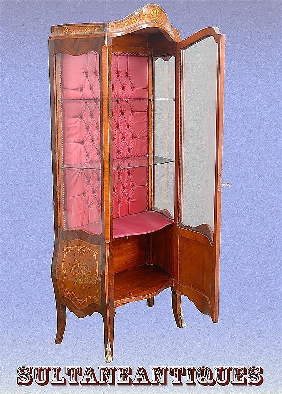 Classy Marquetry Louis XV style China Cabinet.