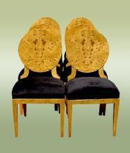 Perfect 8 Biedermeier style French ELM veneered chairs
