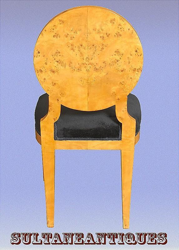 Perfect 8 Biedermeier style French ELM veneered chairs
