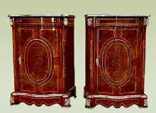 PAIR Elegant French Louis XV style bombe Commodes