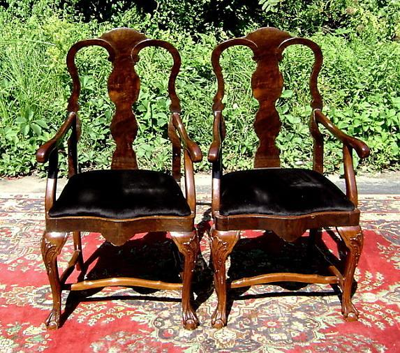 Quality Pair Chippendale Style dark walnut Armchairs