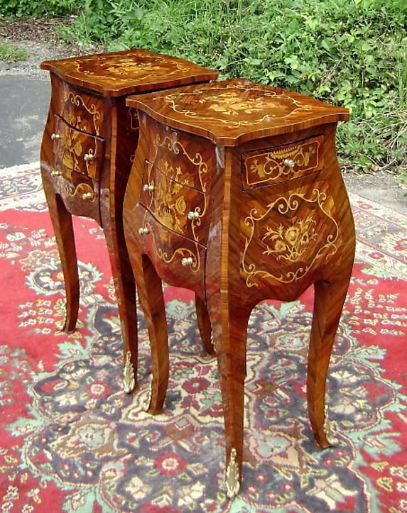 Unusual PAIR  Louis XV style elegant side commodes
