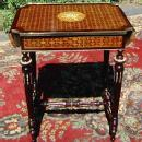 Pair Louis XVI Marquetry ornate sofa table