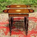 Pair Louis XVI Marquetry ornate sofa table