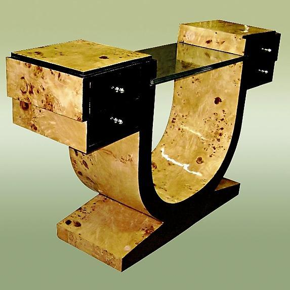 VERY LARGE French Elm Art Deco style console.