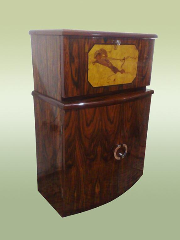 TERRIFIC Art Deco Bar burl and marquetry
