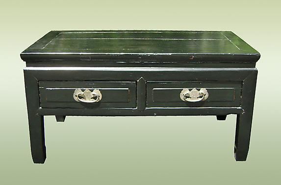 1930s black lacquered coffee table with 4 Drawers