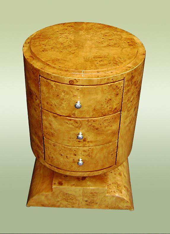 Elegant Art deco style French orange Elm wood commode