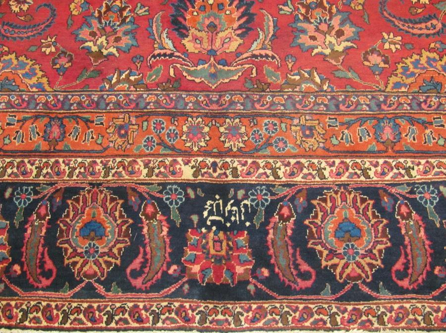 PERSIAN MASHAD CARPET/RUG SIGNED