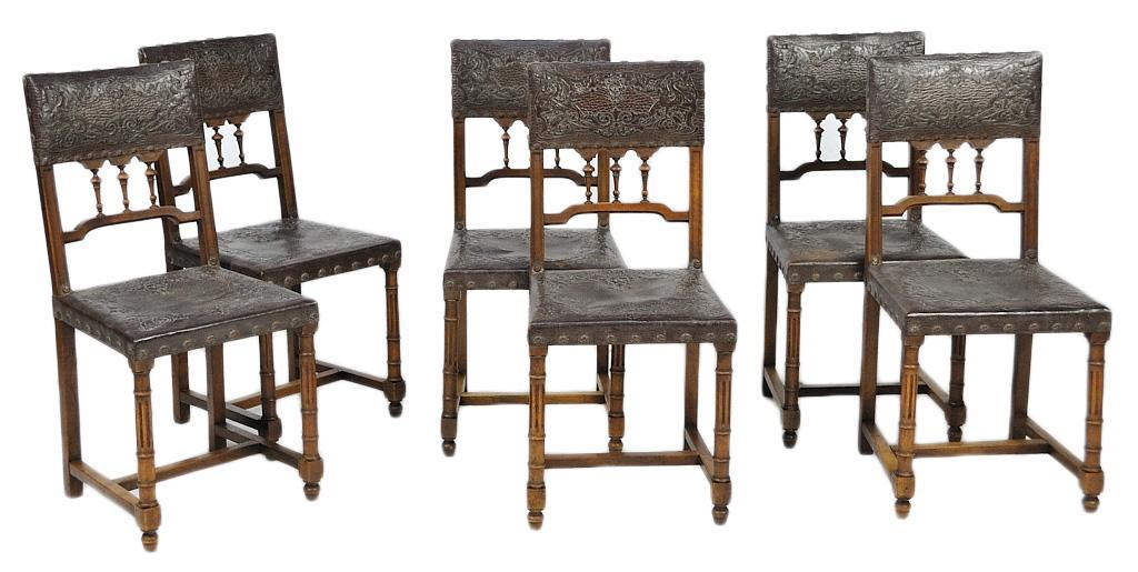 SIX FRENCH CHAIRS LEATHER