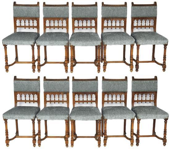 TEN CHAIRS FRENCH BRITTANY CHENILLE