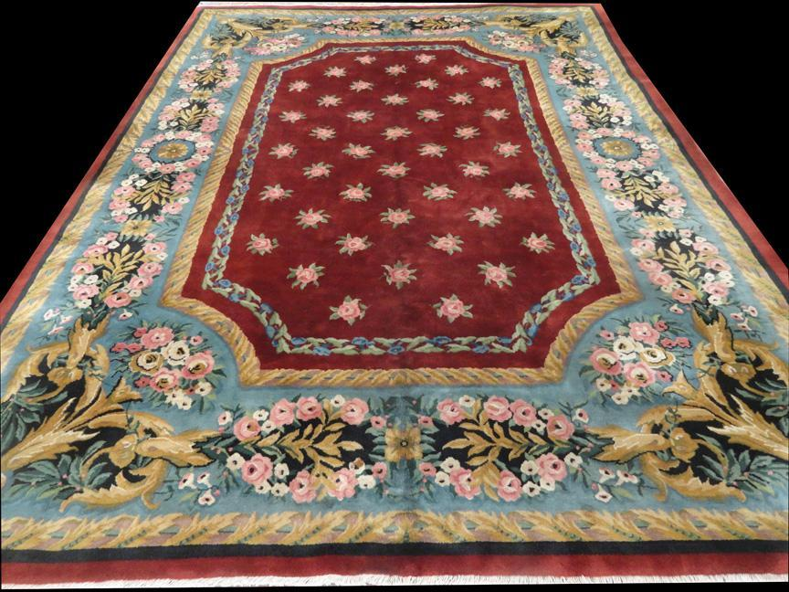 CHINESE ART DECO Ca. 1940's FLORAL CARPET/RUG       11'3