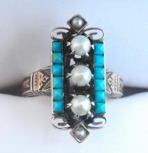 Antique 1800s Victorian Persian / turquoise and pearl ring