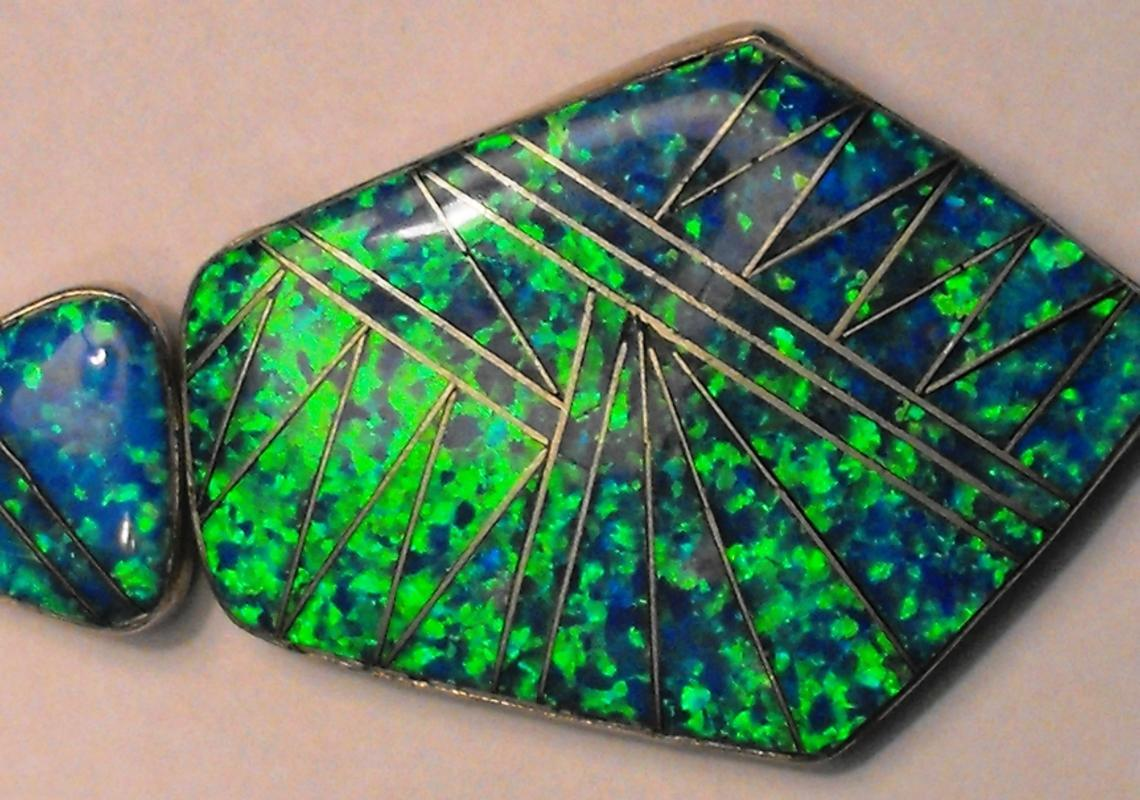 Green, Blue Black Opal Silver Pendant