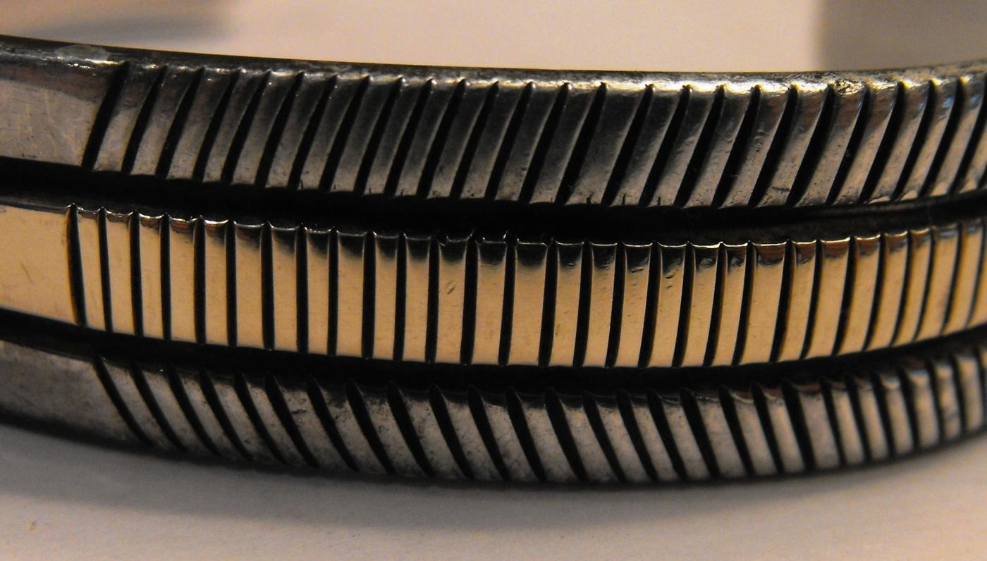Bruce Morgan - Navajo Sterling Silver 14K Gold Bracelet