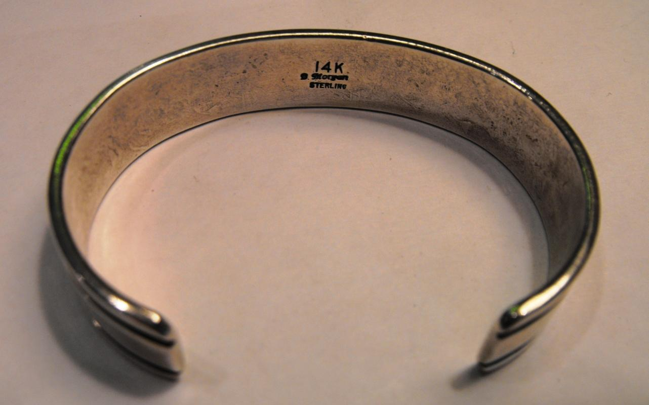 Bruce Morgan - Navajo Sterling Silver 14K Gold Bracelet Ending With Arrow Heads