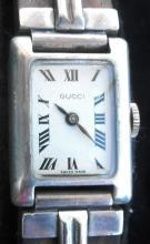 Vintage Mid-Century Modern Gucci Sterling & Wood Watch