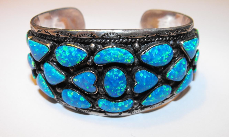 Vintage Large Sterling & Black Opal Cuff Bracelet