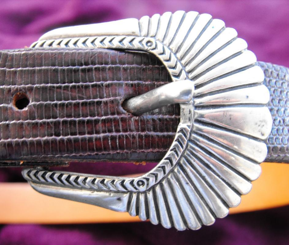 Sterling Silver RDM and belt is Saddlebags Lizzard, Size 30