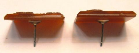 Antique Victorian Intaglio Faceted Carnelian 10k Studs