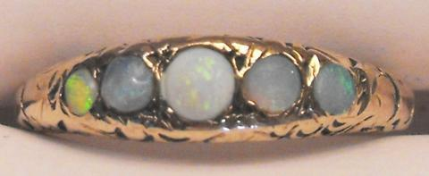 Ladies Victorian Style 10K Gold Opal Ring