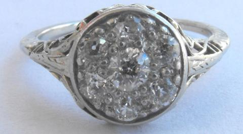 Vintage Art Deco 14K White Gold Diamond Ring