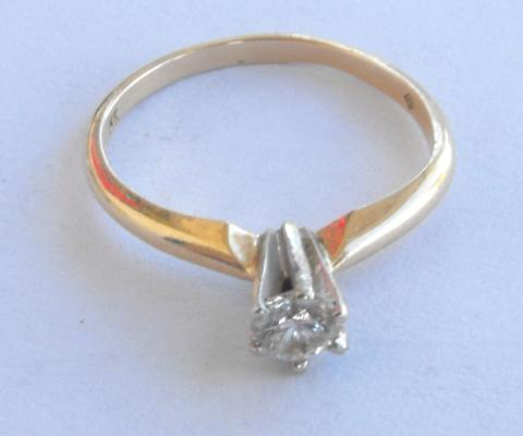 14K SOLID GOLD .2 CT SOLITAIRE ENGAGEMENT DIAMOND RING