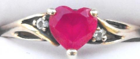 10k solid yellow gold ladies Heart cut Ruby and Diamond ring