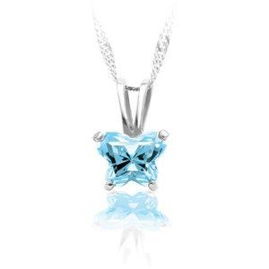 Childrens Sterling Silver Bfly CZ Birthstone Pendant & Necklace with Box