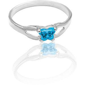Children's Sterling Silver Bfly CZ Birthstone Ring