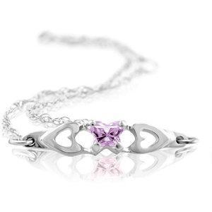 Childrens Sterling Silver Bfly CZ Birthstone Bracelet