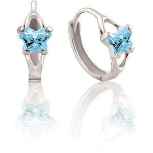 Childrens Sterling Silver Bfly CZ Birthstone Hinged Earrings