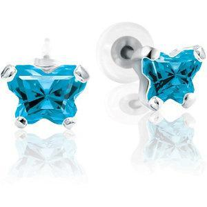 Childrens Sterling Silver Bfly CZ Birthstone Youth Earrings with Safety Backs