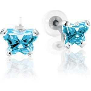 Childrens 10K Gold Bfly CZ Birthstone Youth Earrings with Safety Backs