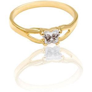 Children's 10K Gold Bfly CZ Birthstone Ring