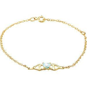 Childrents 10K Gold Bfly CZ Birthstone Bracelet