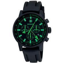 Wenger  Men's Swiss Raid Commando Chrono Black/Green Dial Black Strap
