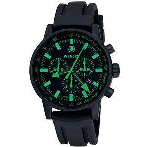 Wenger  Men's Swiss Raid Commando Chrono Black/Green Dial Black Strap