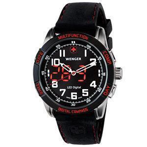 Wenger Men's Nomad Analog Digital Compass Black/Red Dial Black/Red Strap