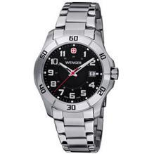 Wenger Mens Alpine Black Dial Stainless Steel Watch