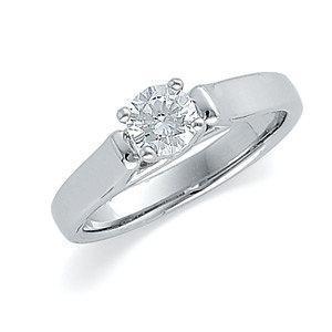 .50 CT Round Diamond Solitaire 14k White Gold Engagement Ring