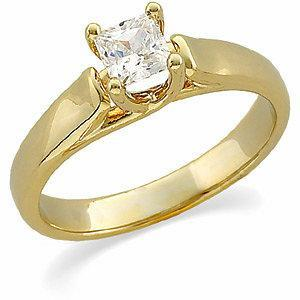 .50 CT Princess Diamond Solitaire 14k Yellow Gold Engagement Ring