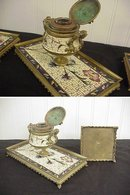 3pc Antique Cloisonne Enameled Cast Bronze Ink Well & pr Candlesticks Desk Set