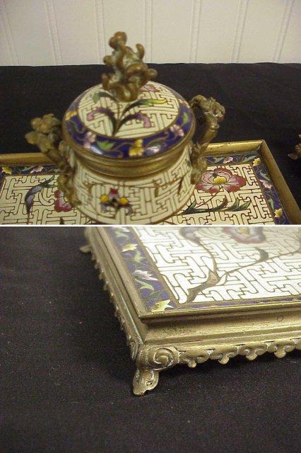 3pc Antique Cloisonne Enameled Cast Bronze Ink Well & pr Candlesticks Desk Set