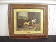 OG Wood Framed 1876 G.M. Green OOC Painting Dogs in Barn 10x8