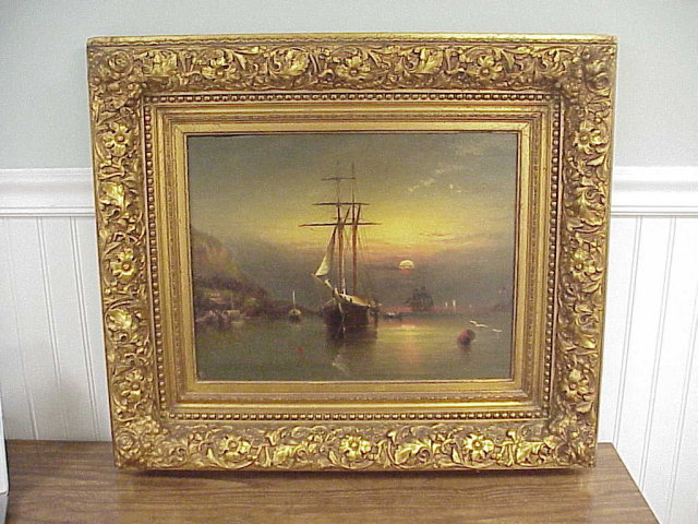 Framed Elisha Taylor Baker OOB Painting Tropical Harbor at Sunset 14x18