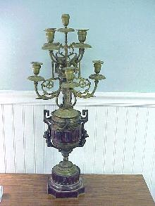 Antique cast Bronze & Marble 9 Arm Candelabra w Cherubs