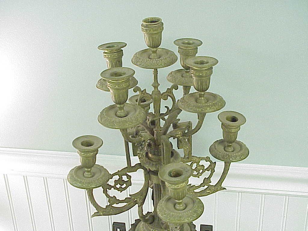 Antique cast Bronze & Marble 9 Arm Candelabra w Cherubs